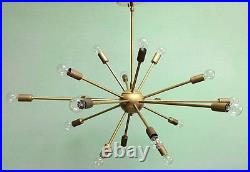 18 Arm MID Century Modern Atomic Sputnik Brass Chandelier Light Fixture