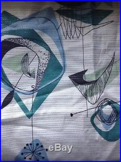 1955 Gold Galaxy Mid Century Eames Abstract Atomic Mobile Linen Bark Cloth 3yd