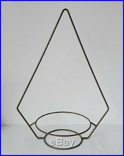 2 Vintage MCM Hanging Plant Hangers Metal Mid Century Modern Atomic Googie