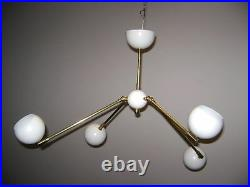 4-Ball GLOBE Adjustable CEILING LIGHT or WALL SCONCE Mid Century DECO Atomic 50s
