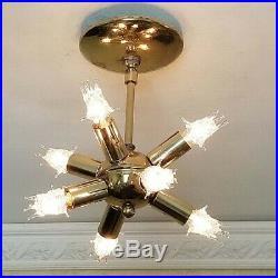 638b 1 of 2 Vintage Sputnik atomic mid century modern ceiling light chandelier