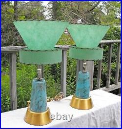 AMAZING 1950s Mid-Century Modern Boudoir Lamps Atomic fiberglass shades EX+