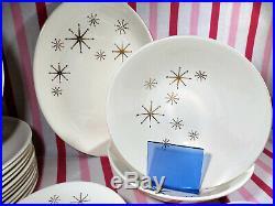 Amazing 1950's Mid Century Modern Atomic Gold Starburst 65pc Dinnerware Set
