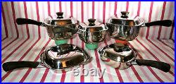 Amazing Mid Century Atomic Starburst Lids 10pc Square Stainless Cookware Set WoW