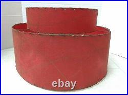 Atomic Red 2 Tier Mid Century Lamp Shade Fiberglass vintage