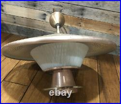 Ceiling Light Mid Century 21 Pull Down Retractable Saucer Fixture Atomic 1950s