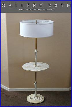 Clean! Atomic MID Century Table Floor Lamp! White Pole Lightolier Vtg Modern 50s