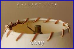 Clean! MID Century Modern Atomic Tripod Lamp 50's Leather Shade Vtg Light Retro