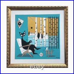 FREE SHIPPING Mid Century Modern Atomic El Gato Cat Original Painting Wall Art