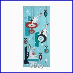 FREE SHIP Mid Century Atomic Cats Xmas Tree Ornament El Gato Wall Art Painting