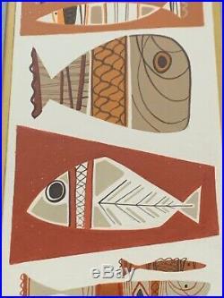Fun Vintage 50s 60s Atomic Fish Art Wall Hanging Mid century Modern Signed Mack