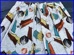 Kinetic Biomrophic 50s Atomic Barkcloth Vintage Fabric Drape Curtain Mid Century