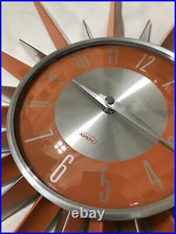 Kirch RETRO Mid Century Modern STYLE Starburst Suburst Atomic Wall Clock Metal