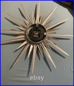 Kirch RETRO Mid Century Modern Starburst Suburst Atomic Wall Clock Metal-works