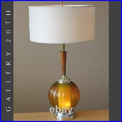 Light Up Base MID Century Modern Atomic Table Lamp! Amber Glass Vtg 50's 60's