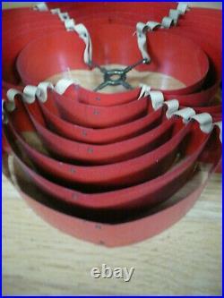 MCM Vintage Mid Century Atomic Retro Venetian Blind Metal 7 Tier Lamp Shade RED