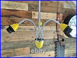 MID Century 70s Space Age Chrome Yellow 3 Arm Ceiling Light Sputnik Atomic Retro