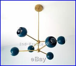 MID Century Atomic Sputnik 6 Arms Orbs Brass Chandelier Lights Fixture