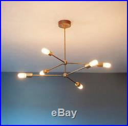 MID Century Brass Atomic Chandelier Light Fitting 6 Bulb Arms Sputnik