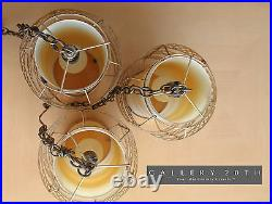 MID Century Danish Modern Hanging Swag Lights! Lamps Brass Vtg Atomic! Space Age