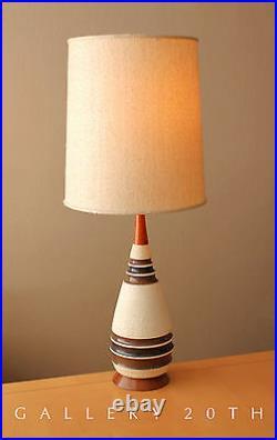 MID Century Danish Modern Teak Ceramic Table Lamp! Vtg 1950's Wegner Atomic 60's