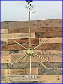 MID Century Modern 60's 70s Sputnik Atomic Gold Plastic Ceiling Light Chandelier
