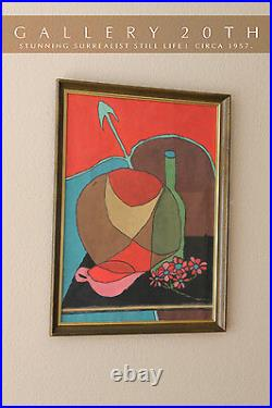 MID Century Modern Abstract Orig. Surrealist Painting! Art Blue Vtg Atomic 50's