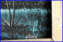 MID Century Modern Blue Desert Landscape Painting! Vtg 50s 60s Velvet Art Atomic
