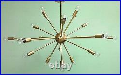 MID Century Modern Brass Atomic Sputnik Chandelier 18 Arm Light Fixture