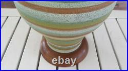 MID Century Modern Danish Teak Ceramic Table Lamp Vtg 1950's Wegner Atomic 60's