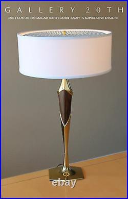 MID Century Modern Laurel Table Lamp! 50's 60's Vtg Designer Atomic Brass Retro