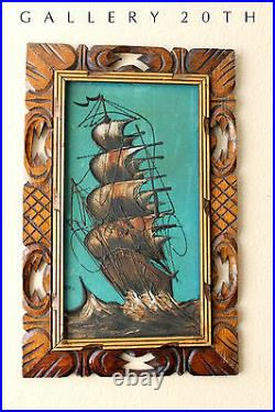 MID Century Modern Ship Painting! Vtg 1950's Galleon Wall Art Atomic Pirate Boat