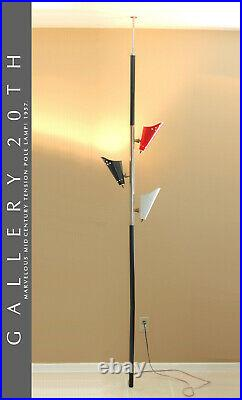 MID Century Modern Tri-color Tension Pole Lamp! 1950s Atomic Red White Black