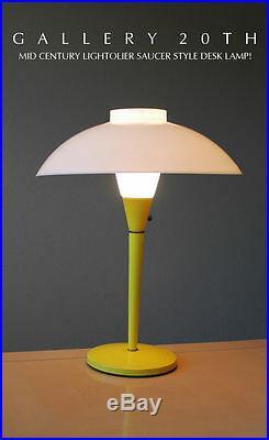 MID Century Modern Yellow Lightolier Saucer Lamp! White 50s Vtg Atomic Light Ufo