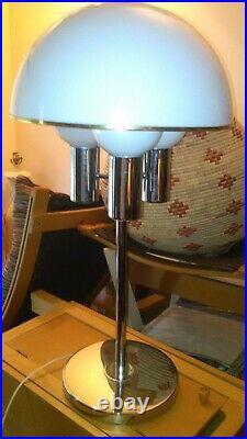 MID Century Space Age Modern Atomic Chrome Acrylic Dome Smoked Shade Lamp
