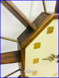Mid Century Atomic Wall Clock Walnut Starburst Sunburst Sputnik Los Angeles 32