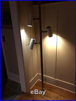 Mid Century Lightolier 3 Can Tension Pole Lamp Light Fixture Walnut Atomic Ranch