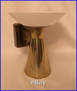 Mid Century Mod Sconce VTG Cone Saucer Atomic MCM Brass Double Wall Light 3 Way