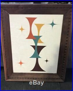 Mid Century Modern Abstract Geometric Framed Wall Art Retro Atomic