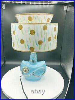Mid-Century Modern Atomic Ceramic Small Table Lamp With2Tier Fiberglass Shade Mint