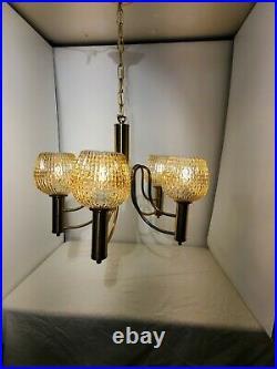 Mid Century Modern Brass Vintage 5 Arm Chandelier Atomic Rib Globe Italian