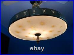 Mid-Century Modern Flying Saucer Hanging Light Fixture Atomic Age UFO Lamp 19.5