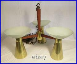Mid Century Modern Imperialite Atomic Swag Lamp Cone 1950s Chandelier Vintage
