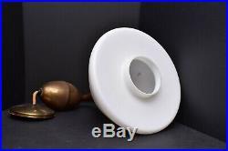 Mid Century Modern Pendant Light Vintage Swag Light White Glass Shade Atomic