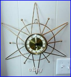 Mid Century Modern SUNBURST WALL CLOCK Atomic Sputnik Starburst Germany 8 Day