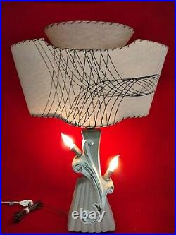Mid Century Modern Table Lamp Fiberglass Shade Two-Tiered Atomic MCM Lampcraft