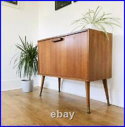 Mid Century Record Cabinet Teak Atomic Legs Retro Vintage Drop Front