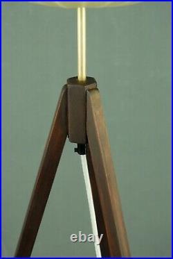 Mid Century Teak & Cocoon Tripod Floor Lamp Atomic Vintage Eames 50s 60s 70s Era