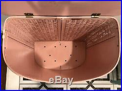 Mid Century VTG Pink Gold Clothes Hamper Laundry Bin Vogue Atomic. Pearl Wick