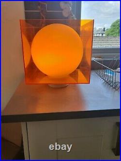 Mid-Century orange Perspex Cube Light Lamp Desk Table Vintage Retro atomic